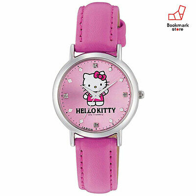 New Hello Kitty CITIZEN Q&Q Watches Pink Leather Belt Made in Japan 0017N003 F/S