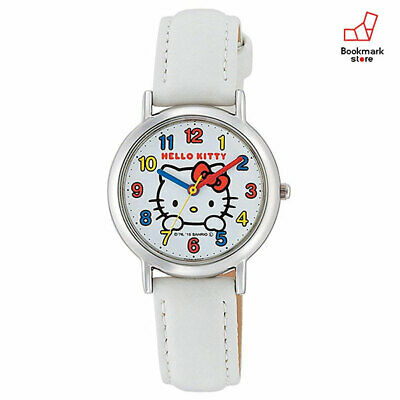New Hello Kitty Girls Watches CITIZEN Q&Q White Leather Belt HK15-001 Waterproof