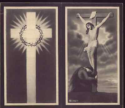 CHRIST CRUCIFIED & ST MARY MAGDALENE / REAL PHOTO Old 1934 FUNERAL HOLY CARD