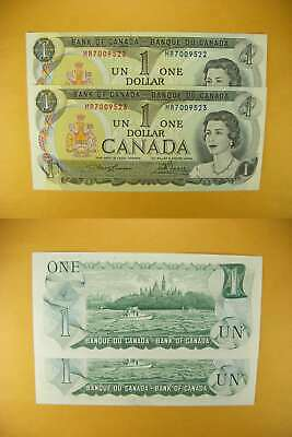 3230 Canada Lot of 2 1973 $1 GemUNC Consecutive