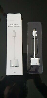 2in1 Dual Lightning Adapter Earphone Jack Audio Charge Cable For iPhone