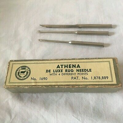 Vintage LEES ATHENA De Luxe Rug Needle With 3 Different Points No 1960