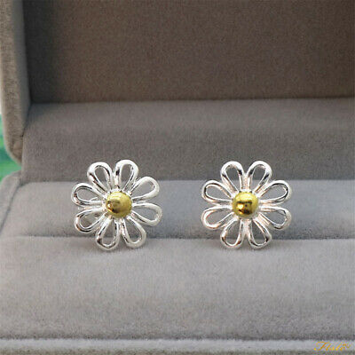 Shiny 925 Sterling Silver & Gold Plated 2 Tone Daisy Flower Stud Earrings Gift