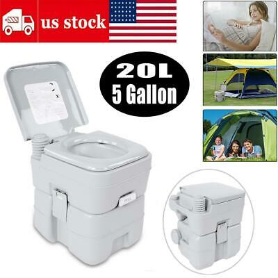 20L Portable Toilet 5 Gallon Flush Travel Camping Outdoor/Indoor Potty Commode
