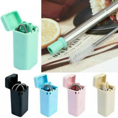 Reusable Collapsible Drinking Straws Stainless Steel Metal Straw Foldable+ Brush