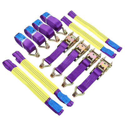 4 Pcs Recovery Ratchet Alloy Wheel Straps Trailer Securing Link Yellow / Purple