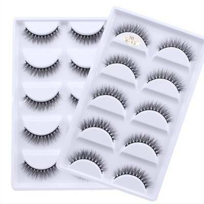 5 Pairs Mink 3D False Eyelashes Volume Thick False Fake Lashes Extension Natural