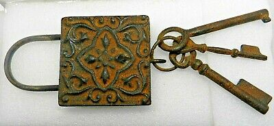 PAD LOCK with 3 KEYS on a ring, antique style cast iron, wall mount rusty look