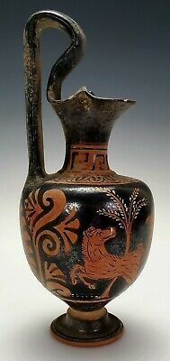 Ancient Greek Southern Italian Apulian Red Figure Pottery Oinochoe Jug