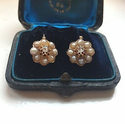Beautiful antique French pearl cluster & rose cut diamond  earrings in 18ct gold