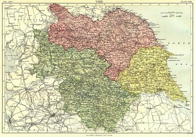 YORKSHIRE. Showing North West East ridings. Britannica 9th edition 1898 map