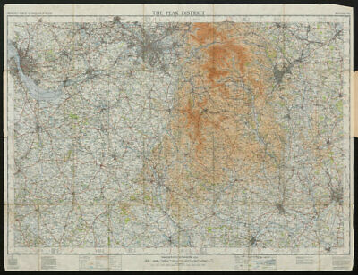 THE PEAK DISTRICT. Manchester Liverpool Derby. ORDNANCE SURVEY 1936 old map