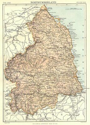 NORTHUMBERLAND. Britannica 9th edition County map 1898 old antique chart