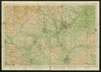 Sheet 24 VALE OF TRENT. Nottingham Derby Leicester Stafford BARTHOLOMEW 1952 map