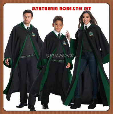 Book Week Costume Harry Potter Robe Slytherin Cape Cloak Tie Cosplay Fancy Dress