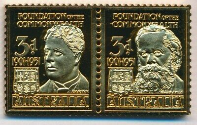 Australia: 1988 3d Federation 24ct Gold on Stg Silver Stamp $99.50 Issue Price