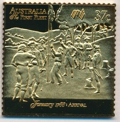 Australia: 1988 24ct Gold on Stg Silver Stamp $99.50 Issue Price - Bicentenary