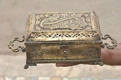 Old Brass Handcrafted Jali Cut Engraved 7 Compartment Betel Nut Box