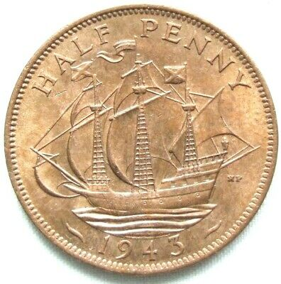 1943 Stunning WW2 Halfpenny. Loads of Royal Mint Lustre - FREE POSTAGE  (118C)