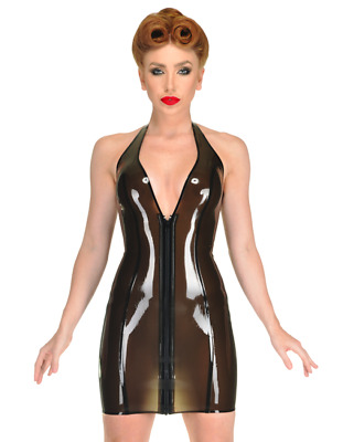 Latex Rubber Gummi Catsuit Sexy Transparent Dress Front Long Zip Customize 0.4mm