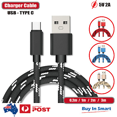 USB-C Type C Data & Charger Cable for Samsung Huawei Xiaomi Google Fast Charging