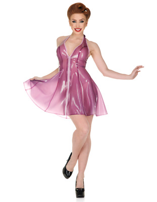 Latex Catsuit Rubber Gummi Sexy Transparent Trims Dress Fitted Customized 0.4mm