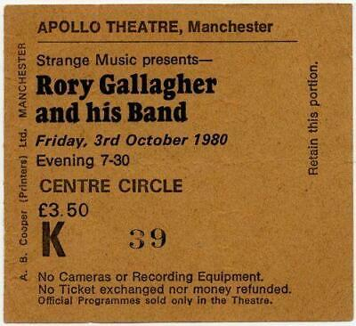 Rory Gallagher ticket Manchester Apollo 03-10-80 Stagestruck tour