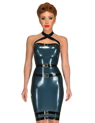 Latex Catsuit Rubber Gummi Sexy Unique Buckle Club Wear Dress Customized 0.4mm