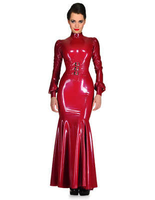 Latex Catsuit Rubber Gummi One-Piece Corset Dress Long Sexy Cool Customized .4mm