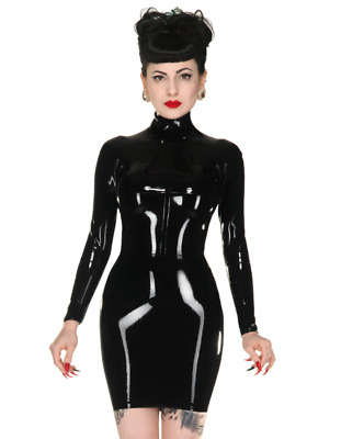 Latex Catsuit Rubber Gummi Long Sleeves Short Skirts Sexy Dress Customized 0.4mm