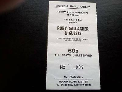 Rory Gallagher  ticket  Victoria Hall Hanley 21/01/72