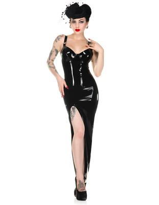 Latex Catsuit Rubber Gummi Long Split Skirts Suspender Sexy Dress Customize .4mm