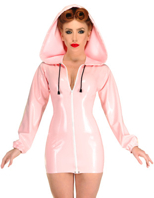 Latex Catsuit Rubber Gummi Long Sleeve Short Sexy Hooded Dress Customized 0.4mm