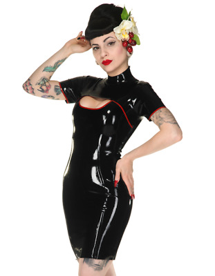 Latex Catsuit Rubber Gummi Short Sleeve Sexy Oriental Dress Customized 0.4mm