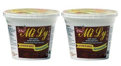 (1,38€/100g) [ 2x 65g ] Mi Ly / A-One Instant Cup-Nudeln [ Rindgeschmack ]