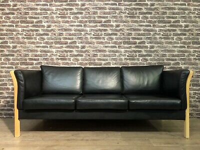 Danish Black Leather 3 Seater Sofa Great Value ! Delivery Available