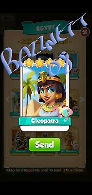 Coin Master Cards Cleopatra Fast Delivery!! Bazznett08 100% positive trusted!!
