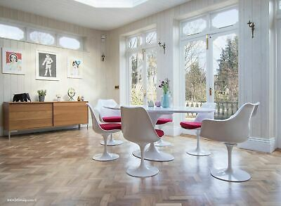 200cm x 120cm White Laminate Oval Tulip Dining Table & 4 + 2 Tulip Dining Chairs