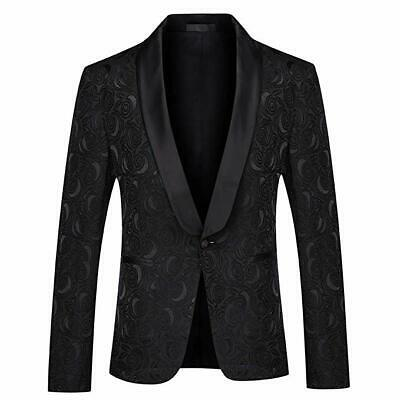 Men Black Jacquard Paisley Suits Blazer Groom Tuxedos Prom Dinner Wedding Suit