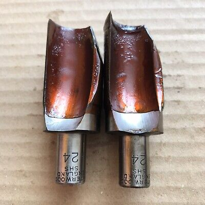 2x Interwood SHS Router Cutters - 24mm Fluted - 70mm Overall - 12mm Dia Shank