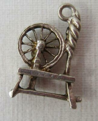 Vintage Sterling Silver English SPINNING WHEEL Charm