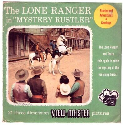 """3 VIEW-MASTER 3D Reels📽️The LONE RANGER in """"MYSTERY RUSTLER"""" - 962(ABC) Western"""