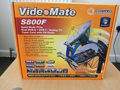 COMPRO VIDEO MATE S800F Pci E Quad Mode Dual Dvb S T