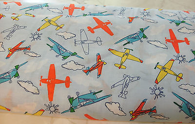 """14"""" Children Airplanes Allover on Blue Quilt Fabric Airplanes"""