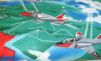 """14"""" Children Air Show Allover on Blue Quilt Fabric Air Show Jets Airplanes"""