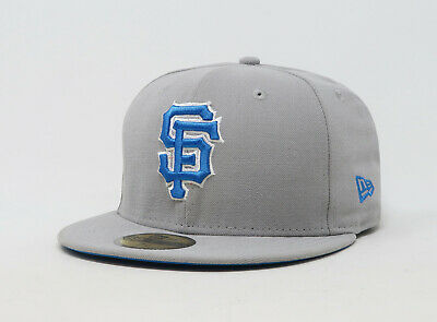 more photos a3b55 c497a New Era 59Fifty Hat Mens MLB San Francisco Giants Gray Blue Fitted Cap 5950