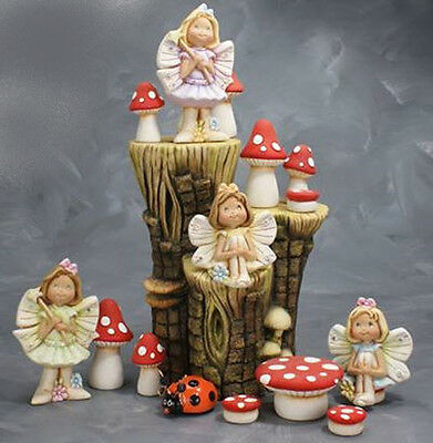 Ceramic Bisque~~ Ready to Paint ~~Fairies on a Small Stump Brand New