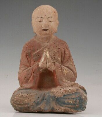 Unique Chinese Wood Hand-Carved Buddha Statue Old Collection