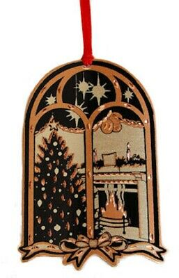 Christmas Tree and Fireplace Through Window Copper Metal Tree Ornament New