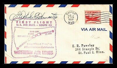 Dr Jim Stamps Us Casper Wyoming First Flight Air Mail Cover Am 35 Salt Lake City